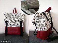 Gift idea for Christmas: self-sewn backpack - Bastelideen Homemade Backpack, Diy Backpack, Diy Purse Organizer, Crochet Patron, Little Bag, Kids Bags, Knitted Bags, Handmade Bags, Bag Making