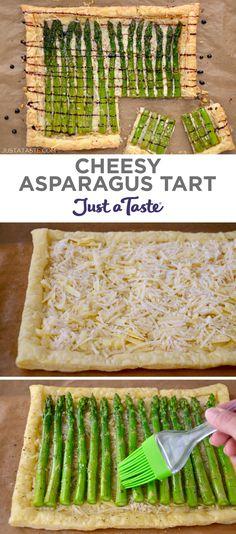 Cheesy Asparagus Tart recipe from justataste.com #recipe #healthyrecipes #spring #asparagus #appetizer