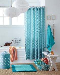 colorful kid's bath-- love the polka dots and stripes!