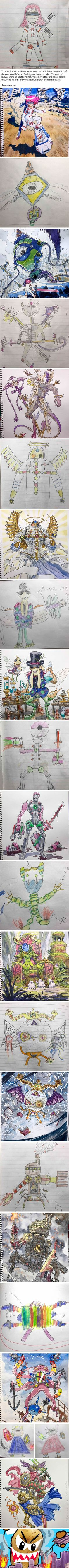 Talented Dad Transforms Son's Drawings Into Awesome Anime Characters