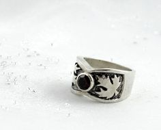 Maple leaf ring with garnet sterling silver. by nataliasjewellery, $65.00