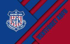 Download wallpapers Ventforet Kofu FC, 4k, material design, Japanese football club, blue red abstraction, logo, Kofu, Yamanashi, Japan, J1 League, Japan Professional Football League, J-League