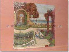 DIPINTO LIBERTY GIARDINO NATURA VIVA  Dipinto in stile liberty, raffigurante giardino con natura viva, inizi '900, pittura ad olio su tela, autore sconosciuto, fornito senza cornice.  Dimensioni: 125x125x3  Codice: PAINF0001