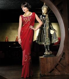 Red Sequin Saree