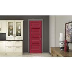 Jeld-Wen Rockport Barn Red Prehung Hollow Core 5-Panel Equal Interior Door (Common: 24-In X 80-In; Actual: 25.562-In X 8