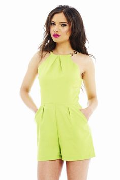 LIME HIGH NECK CHAIN ROMPER