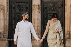 Lovely Couple with Traditional Pakistani Clothes in Prague Prague Photos, Pakistani Outfits, Photoshoot Ideas, Czech Republic, Old Town, Sari, Vacation, Traditional, Couples