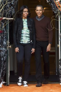 Dressed down in Converse sneakers with her husband, President Barack Obama, during Halloween celebrations at the White House.    - HarpersBAZAAR.com