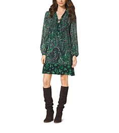 This Paisley-Print Lace-Up Dress from Michael Kors is delightful! The interesting mix of patterns keep it boho chic and fresh. You could even wear this for holiday parties. Redheads would look amazing in this laced up dress.