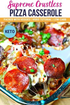 Low-Carb Keto Crustless Pizza Supreme Casserole gives you all the pizza flavors you know and love in an easy to make, low carb package. This delicious recipe feeds a crowd and is perfect for meal prep. #ketorecipes #lowcarbrecipes #ketopizza #casserole #casserolerecipes #pizza Healthy Low Carb Recipes, Low Carb Dinner Recipes, Keto Dinner, Keto Recipes, Cooking Recipes, Pizza Recipes, Party Recipes, Healthy Foods, Yummy Recipes
