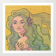Tattooed Mermaid 12 Art Print by Karen Hallion Illustrations - $16.99