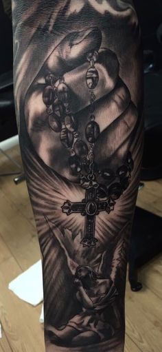 Guys Forearms Cross Rosary Religious Tattoo be Cool Forearm Tattoos, Forearm Tattoo Design, Body Art Tattoos, Hand Tattoos, Sleeve Tattoos, Cool Tattoos, Arabic Tattoos, Sleeve Tattoo For Guys, Neck Tattoos