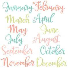 Months of the Year Set SVG scrapbook cut file cute clipart files for silhouette cricut pazzles free svgs free svg cuts cute cut files