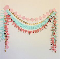Geometric Tribal Garland Set - blush pink, gold, mint & coral by… Birthday Garland, Birthday Decorations, Party Garland, First Birthday Parties, First Birthdays, Birthday Diy, Birthday Ideas, Hippie Birthday, Baby Shower Tribal