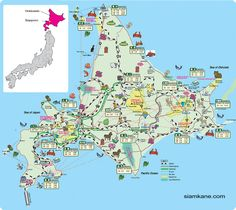 hokkaido map Travel Maps, Travel Info, Time Travel, Hokkaido Winter, Oh The Places You'll Go, Places To Visit, Winter In Japan, Tokyo Skytree, Sea Of Japan