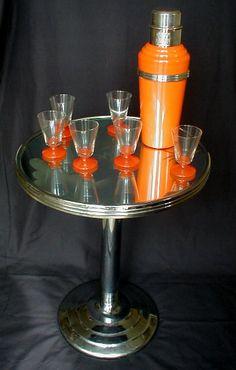 Art Deco Orange Bakelite Cocktail Shaker,Czech Glasses & Art Deco Chrome & Mirrored Ocassional Table