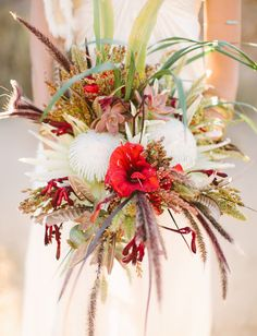 Stunning bouquet with white king protea, succulents, wheat + more!