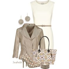 """""""Ivory & Taupe"""" by sassafrasgal on Polyvore"""