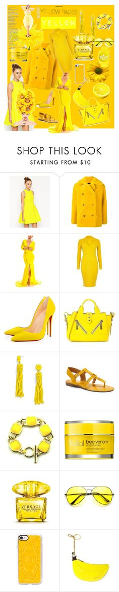 """YELLOW"" by luthfiyyah-rachmawati on Polyvore featuring ASOS, Roseanna, River Island, Kenzo, BaubleBar, Franco Sarto, Rodial, Versace, ZeroUV and Casetify"