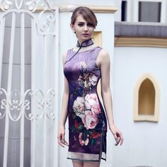 Purple Silk Modern Sleeveless Cheongsam Qipao Dress - Qipao - Cheongsam - Women