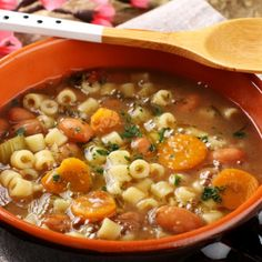 A Flavorful recipe for homemade bean and vegetable soup with pasta.