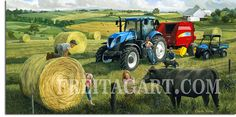 The Artwork of Charles Freitag-Big Round Baling Day