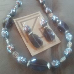 One of a Kind grey acrylic and oxidized geometric bead necklace and earring set #1446, #1649 by LoisWagnerOriginals on Etsy