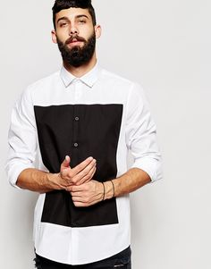 ASOS Shirt In Long Sleeve With Cut And Sew Square