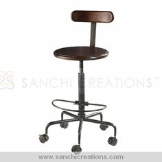 Industrial Iron Bar Stool This piece is perfect for Bar. It provides unique look to your mini bar in your home. Recycled Iron legs  Easy for revolving http://www.sanchicreations.com/