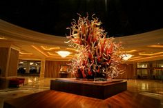 This beautiful glass sculpture, Firestorm, was created by local Mississippi artist, John Witt.