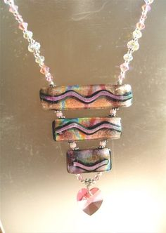 Heart 3 Bar drop crystal and dichroic necklace | WedgeFusedGlass - Jewelry on ArtFire