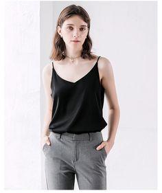 GOPLUS Soft Satin Tank Tops Halter V Neck Vest Satin Tank Top, Camisole Top, Vest, V Neck, Clothes For Women, Tank Tops, Shopping, Fashion, Outfits For Women