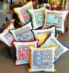 Sorority Pillows, can't figure out how to order one but so cute! Based on the price of her other pillows, looks like they'd be in the 100 dollar range.