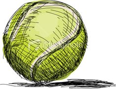 Tennis Ball Sketch, hand drawn pen and ink style