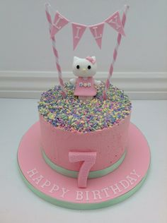 A Hello Kitty Buttercream Cake with Bunting by Fancy Fondant Hello Kitty Theme Party, Hello Kitty Birthday Cake, Hello Kitty Themes, Torta Hello Kitty, Hello Kitty Cupcakes, Cool Birthday Cakes, Birthday Ideas, Pastry Cake, Buttercream Cake