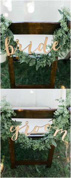 Chair décor, sweetheart table, seeded eucalyptus, garland, gold bride & groom sign // Kristine Marie Photography