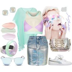Iridescent pastels * Summer hit! by juditta on Polyvore featuring polyvore, fashion, style, Topshop, Jaded, Puma, French Connection, Alexis Bittar, Kate Spade and Ray-Ban