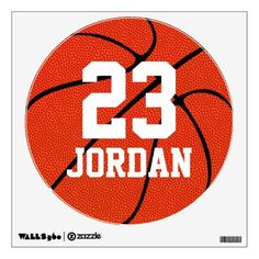 Custom #Basketball Round Wall Decal Sticker #walldecals…can make for lockers using paper, markers, etc.