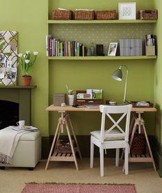 Green living room corner office space