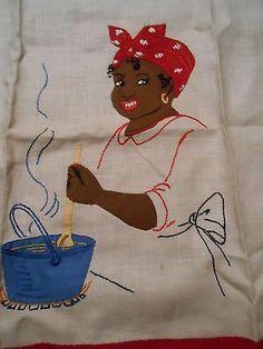 Vintage Black Americana Aunt Jemima /Mammy Dish Towel