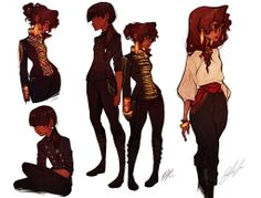 weird posing aside, their clothes are kind of like the girl with the bangs in the bottom left?  Maybe similar to the girl on the far right but more modern.
