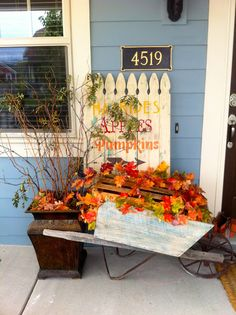 First Lady of the House: Fall Sign made with pickets and decorated front porch