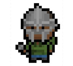 MF Doom, the enigmatic supervillain themed alter-ego of English born rapper Daniel Dumile, now shrunk down to a very blocky 17 x 23 pixel size alongside his iconic mask.