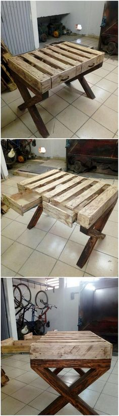 This image is all about the creative enrollment of the wood pallet over the table designing. You will be finding majority of the table designs being crafted with the wood pallet forms that look amazingly so best and favorable attractive. Pallette Furniture, All Wood Furniture, Custom Furniture, Furniture Design, House Furniture, Unique Home Decor, Home Decor Items, Diy Home Decor, Pallet Ideas Easy