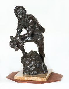 Lot 141A: Contemporary Bronze Statue. On website. Labeled as coming from my house. On hand-written receipt.