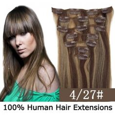 """15"""" 7pcs set Clip-in hair remy Human Hair Extensions #4/27,shop at www.costwe.com"""