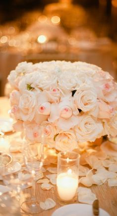 Pale pink rose centerpiece....