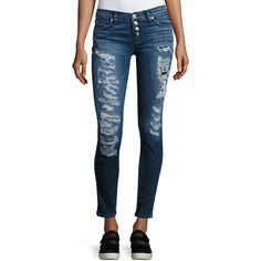 Hudson Ciara Distressed Super Skinny Jeans ($255) ❤ liked on Polyvore featuring jeans, indigo, women's apparel jeans, skinny low jeans, destroyed skinny jeans, super skinny jeans, blue jeans and ripped jeans