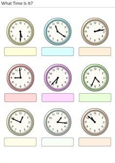 Printable worksheets for kids What time is it? Clock Worksheets, 2nd Grade Math Worksheets, French Worksheets, Worksheets For Kids, Printable Worksheets, Time Management Worksheet, School Calendar, Telling Time, Math For Kids