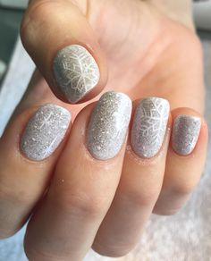 Emmadoesnails winter nails Christmas nails snowflake nails gel mani white nails glitter nails gray nails nail art nail design cute nails